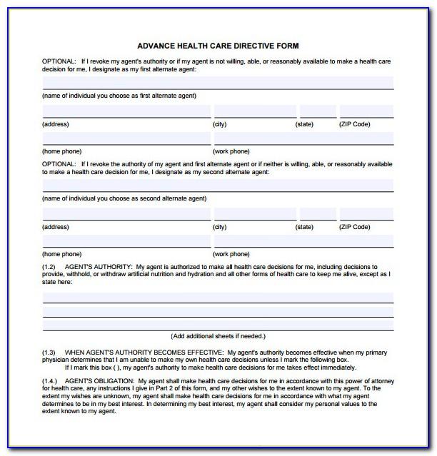 Advance Health Care Directive Form California 2018