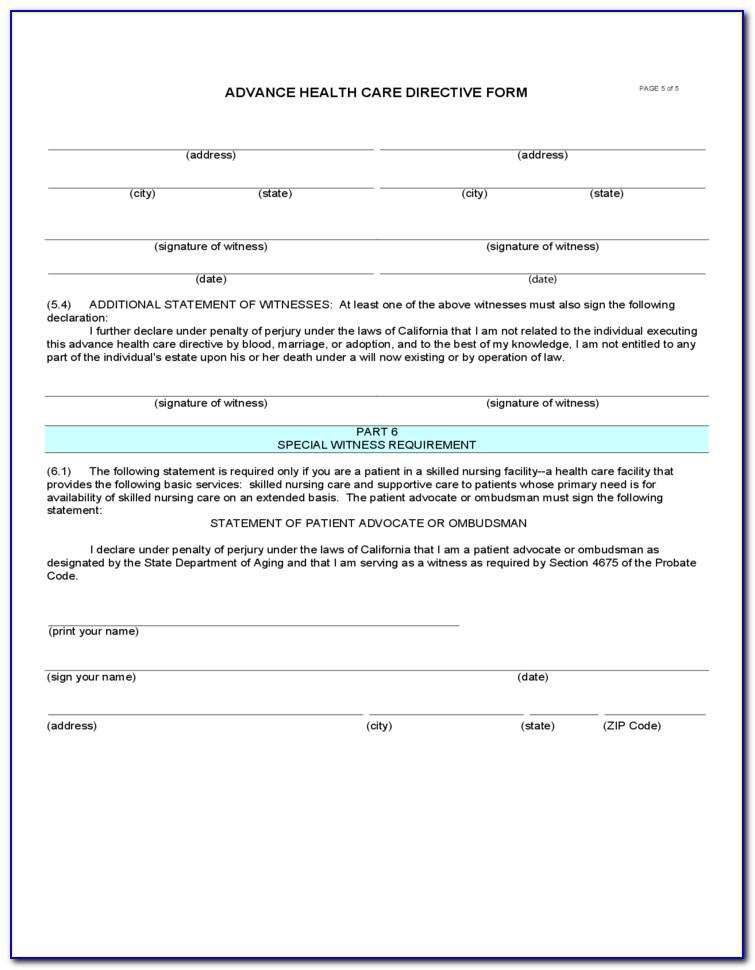 Advance Healthcare Directive California Fillable Form