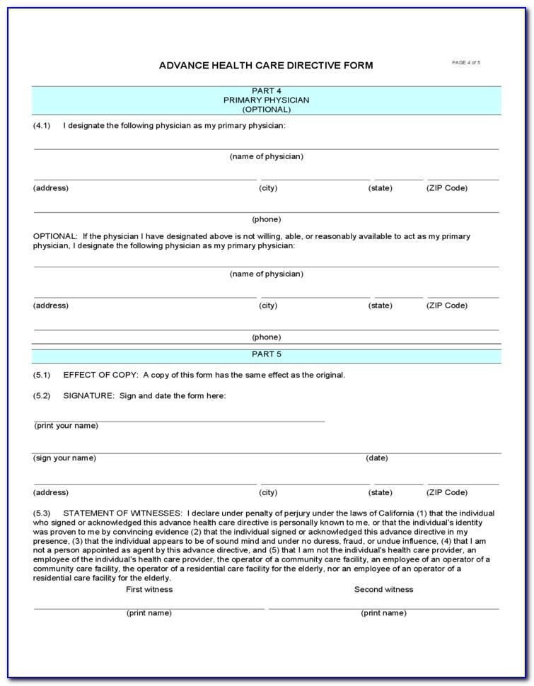 Advance Healthcare Directive Form California Hospital Association