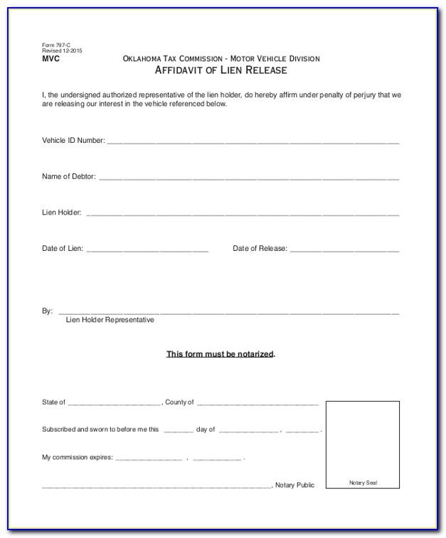 Affidavit And Waiver Of Lien Form