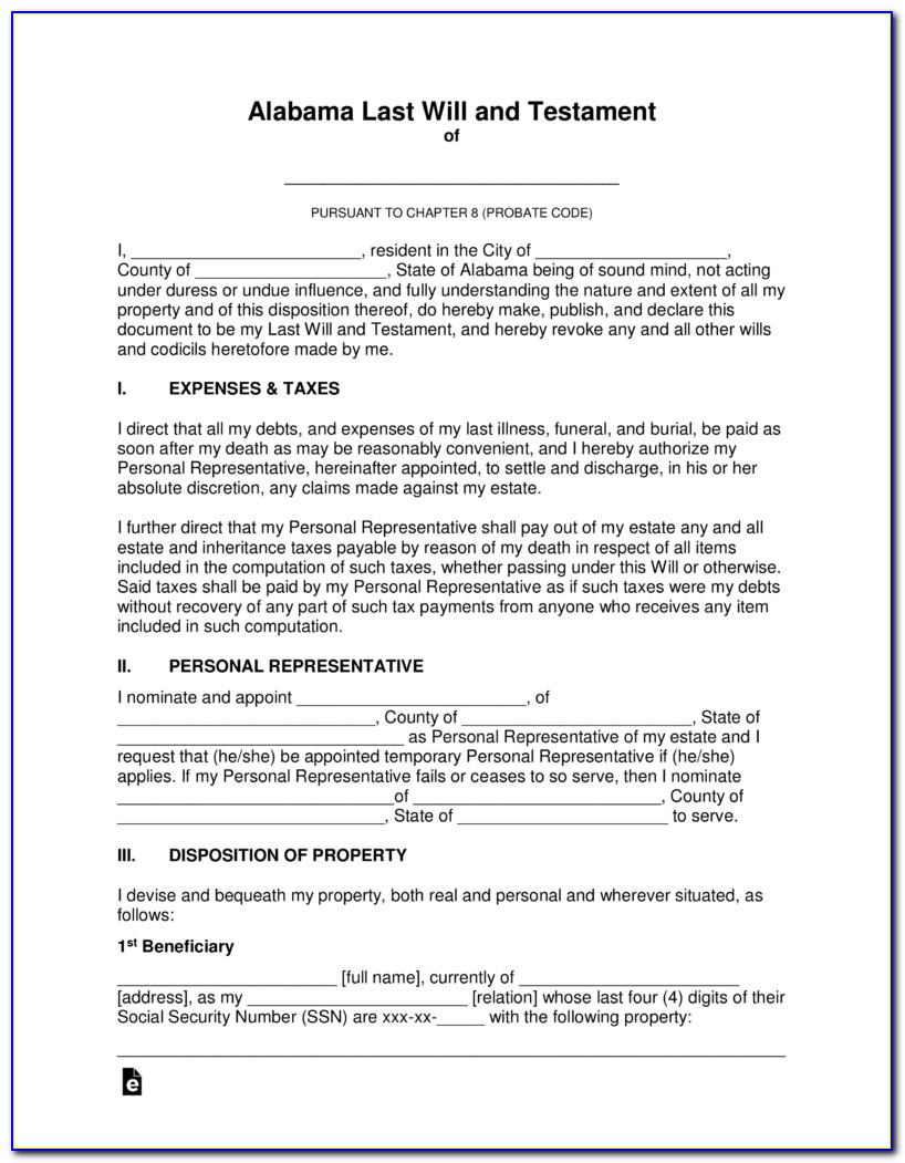 Alabama Last Will And Testament Form