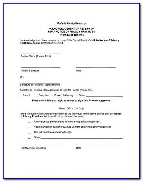 American Dental Association Hipaa Forms