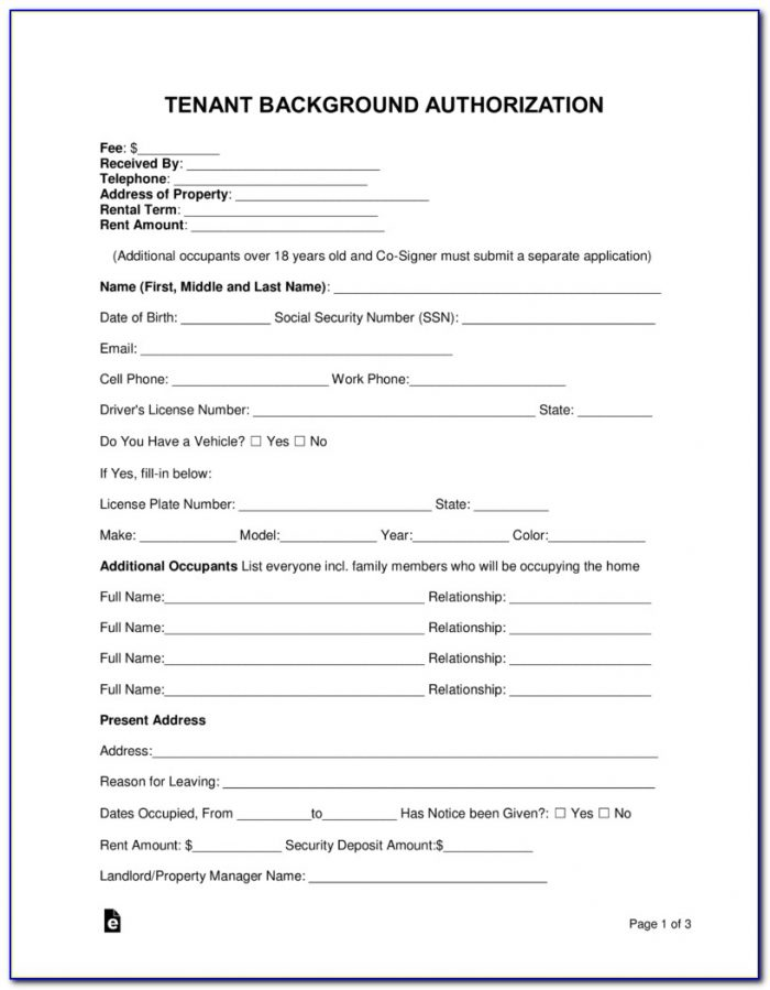 Apartment Rental Background Check Form