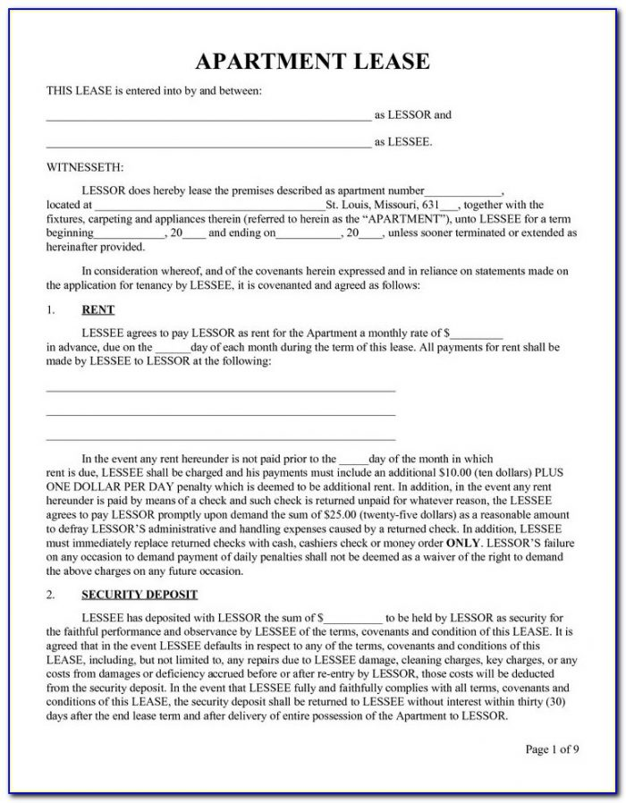 Apartment Rental Lease Forms Ontario