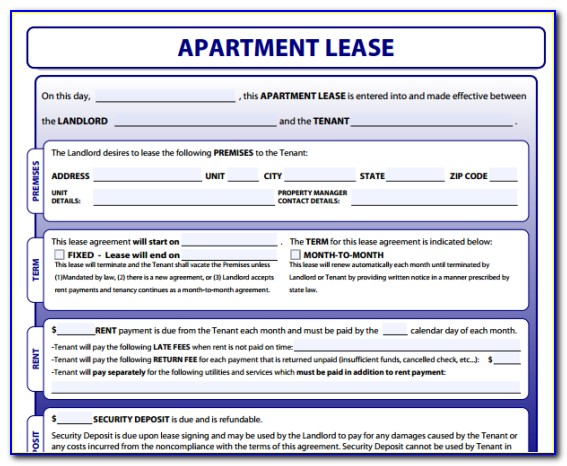 Apartment Rental Lease Sample