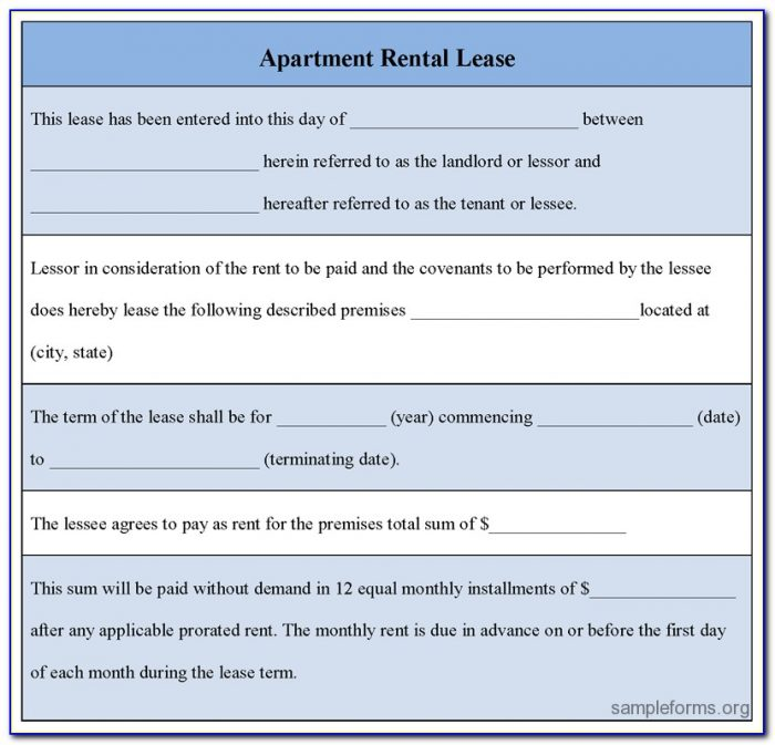 Apartment Rental Lease Template Ontario