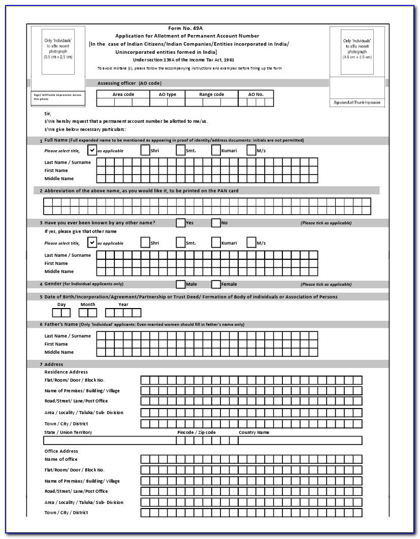 Application Form For Pan Card Correction