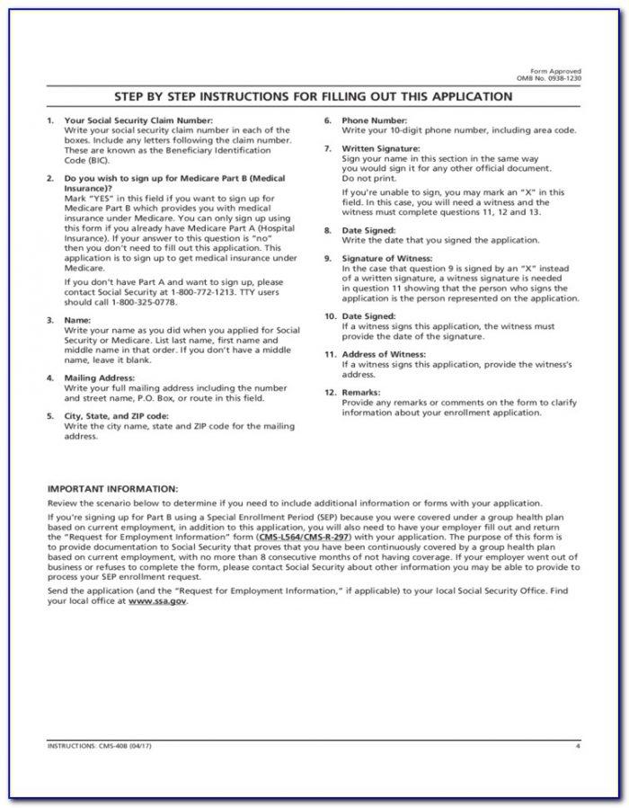 Apply For Medicare Part B Sep Enrollment Form
