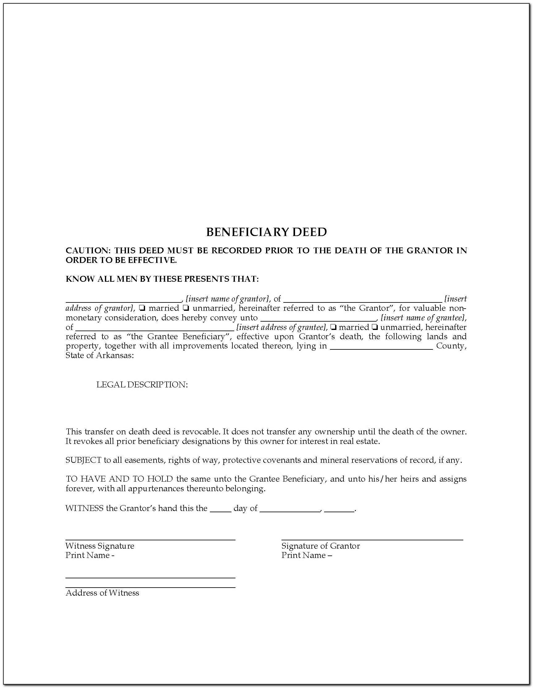Arizona Transfer On Death Deed Form