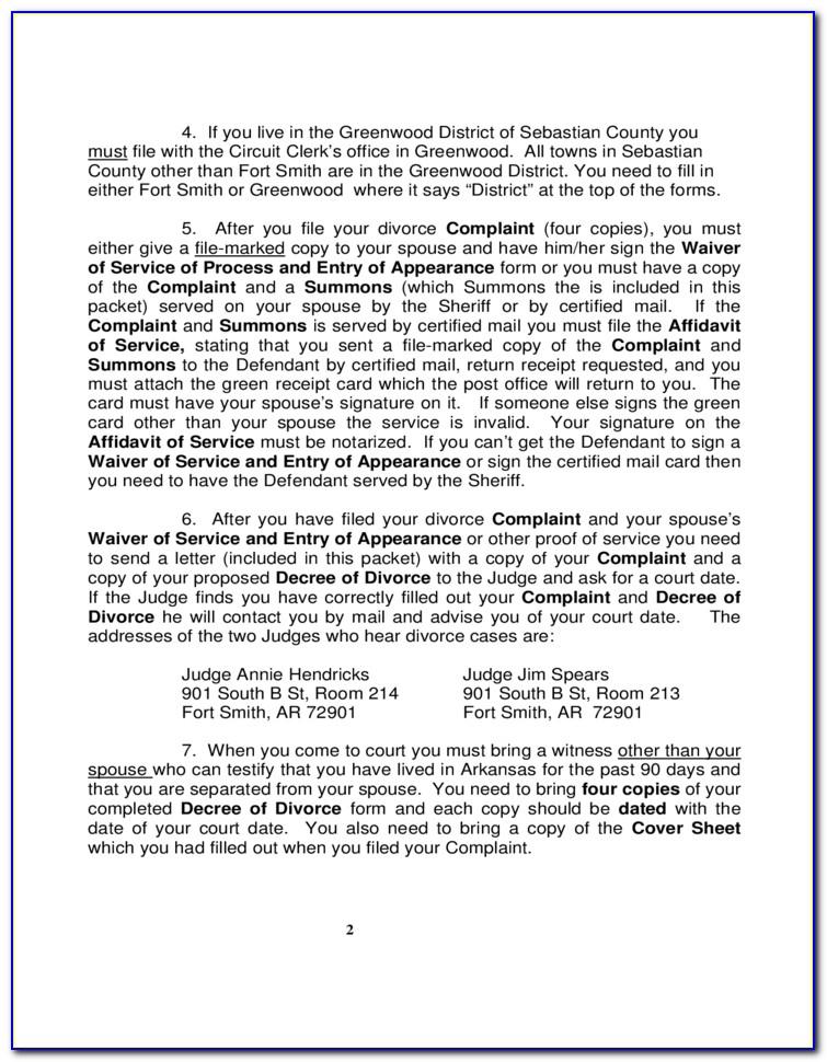 Arkansas Complaint For Divorce Form