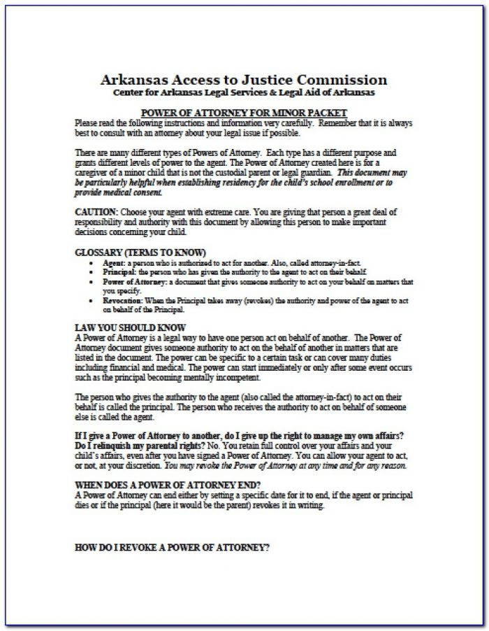 Arkansas Statutory Power Of Attorney Form