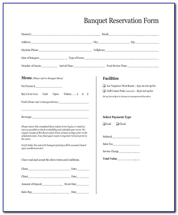 Banquet Booking Form Format