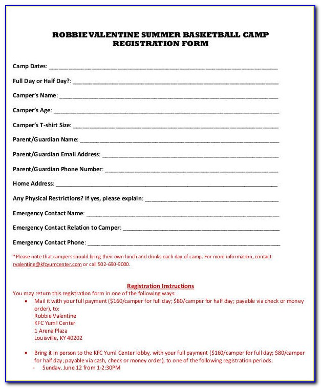 Basketball Camp Registration Form Template Word