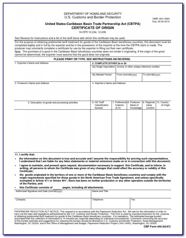 Blank Certificate Of Origin Form Canada