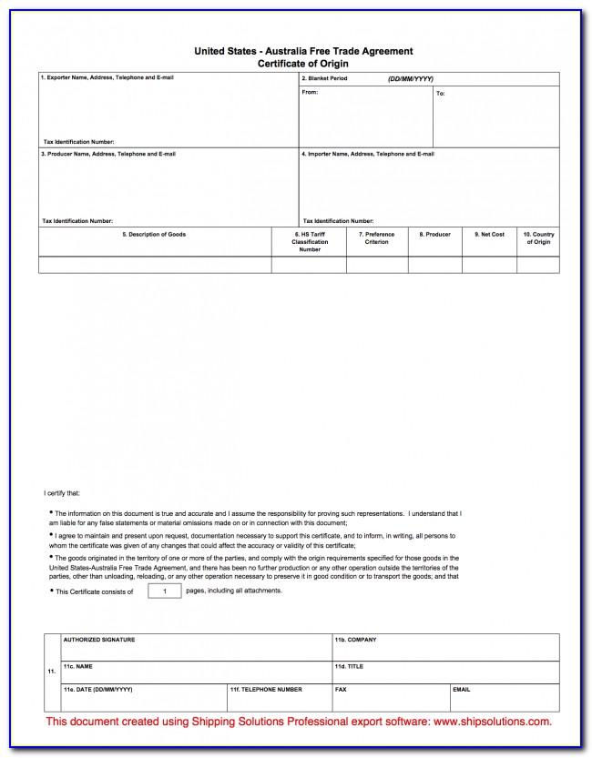 Blank Certificate Of Origin Form Pdf