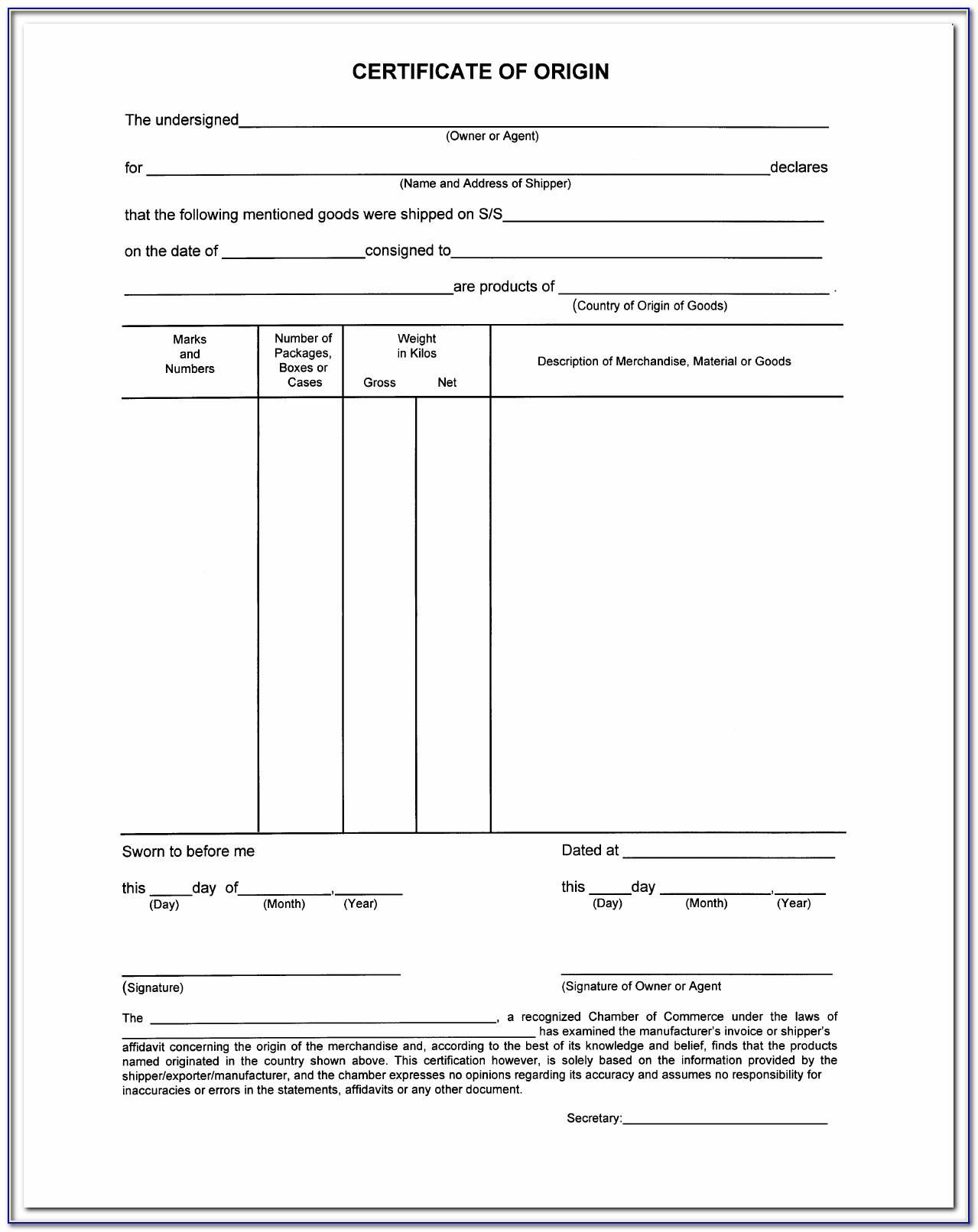 Blank Certificate Of Origin Forms
