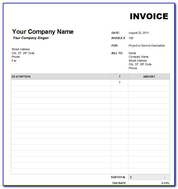 Blank Invoice Forms Download Free