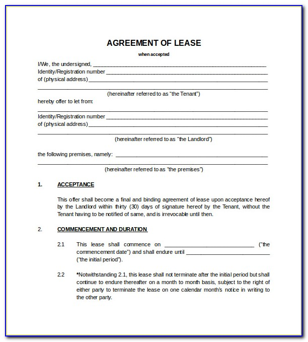 Blank Lease Forms