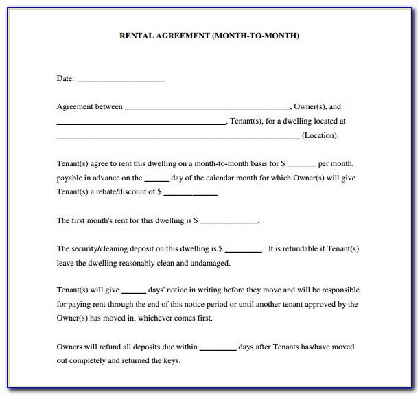 Blank Rental Agreement Form Free