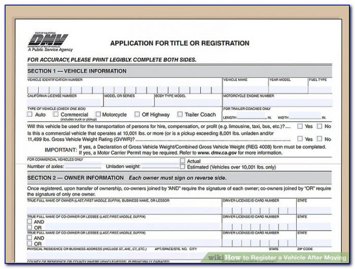 California Dmv Registration Form 138