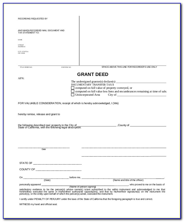 California Grant Deed Fillable Form Free