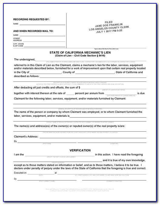 California Mechanics Lien Release Form Free