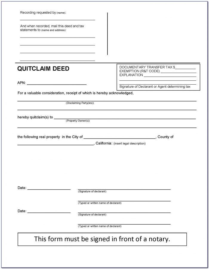 California Quit Claim Deed Form Example