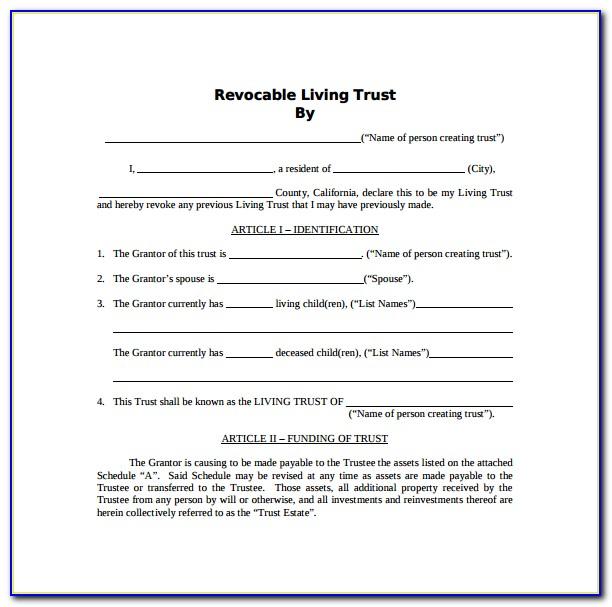 California Revocable Living Trust Form Pdf