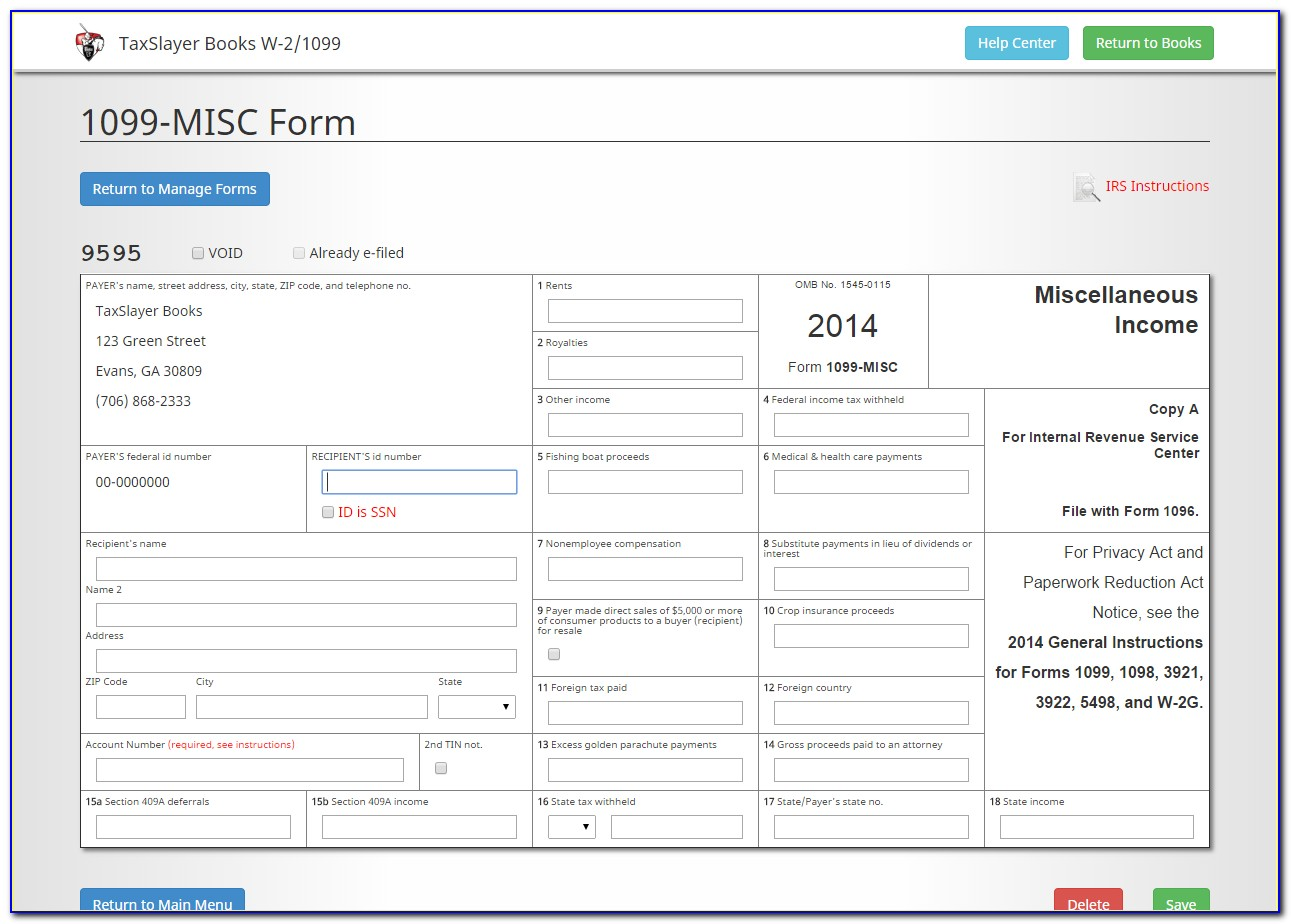 Can I Fill Out A 1099 Misc Form Online
