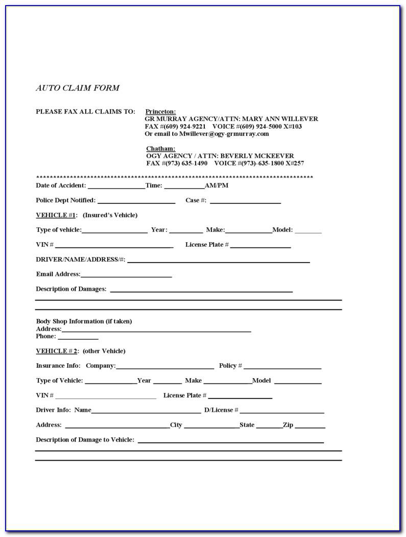 Car Insurance Claim Form Template