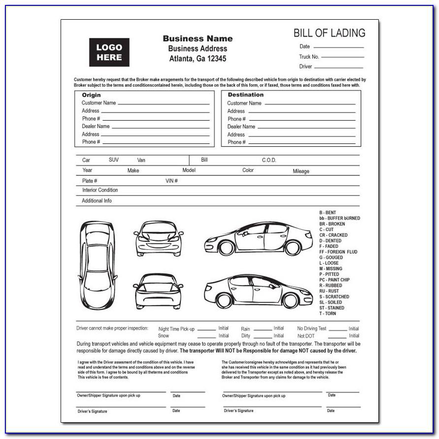 Car Transport Bill Of Lading Form