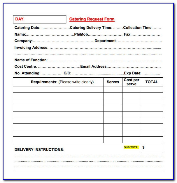Catering Order Form Template Free