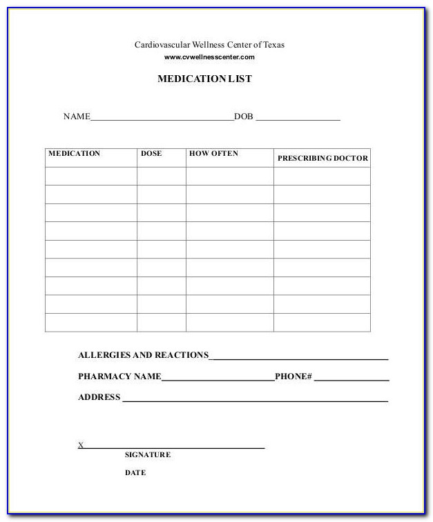 Printable Medication List 8 Free Pdf Documents Download