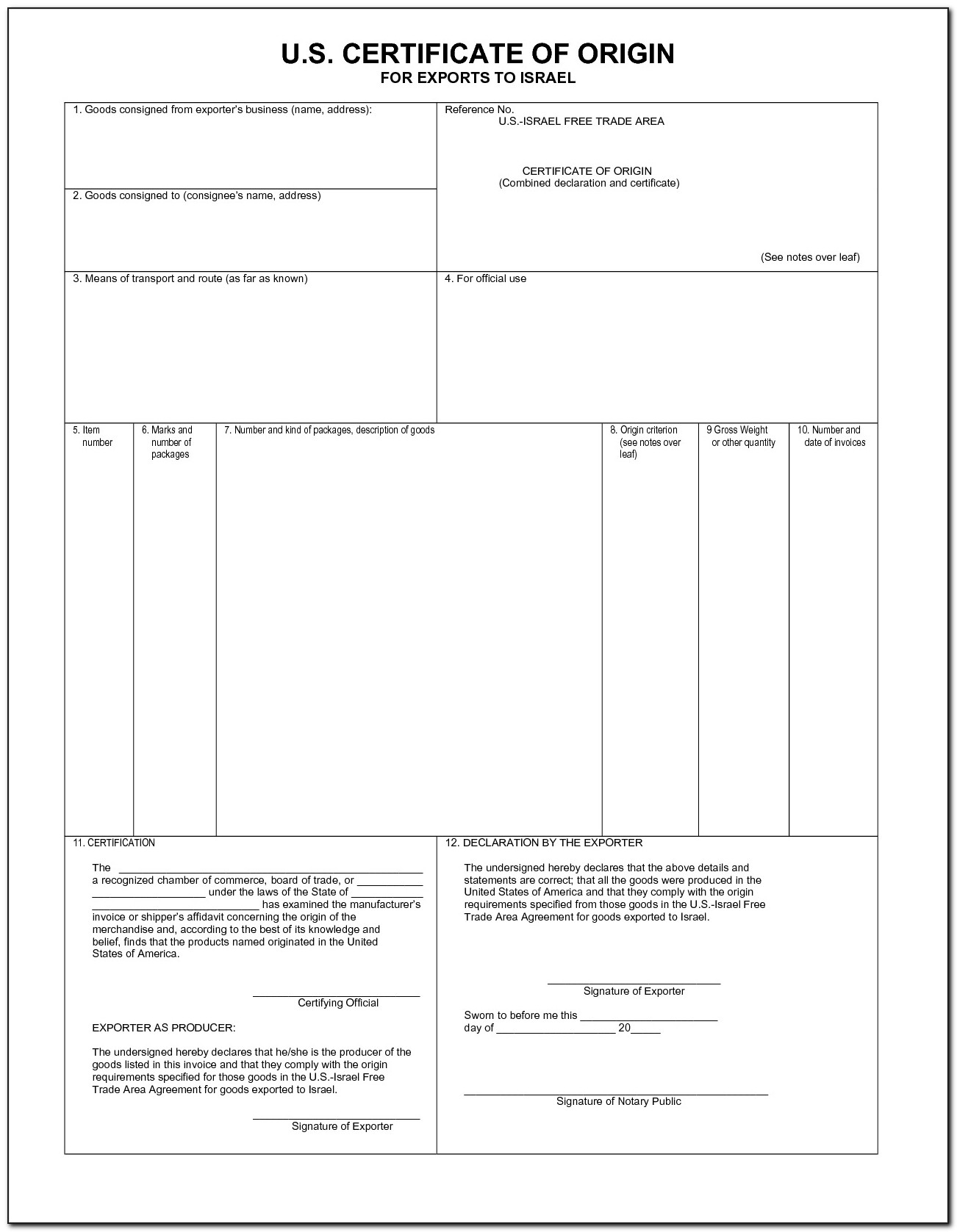 Certificate Origin Blank Form