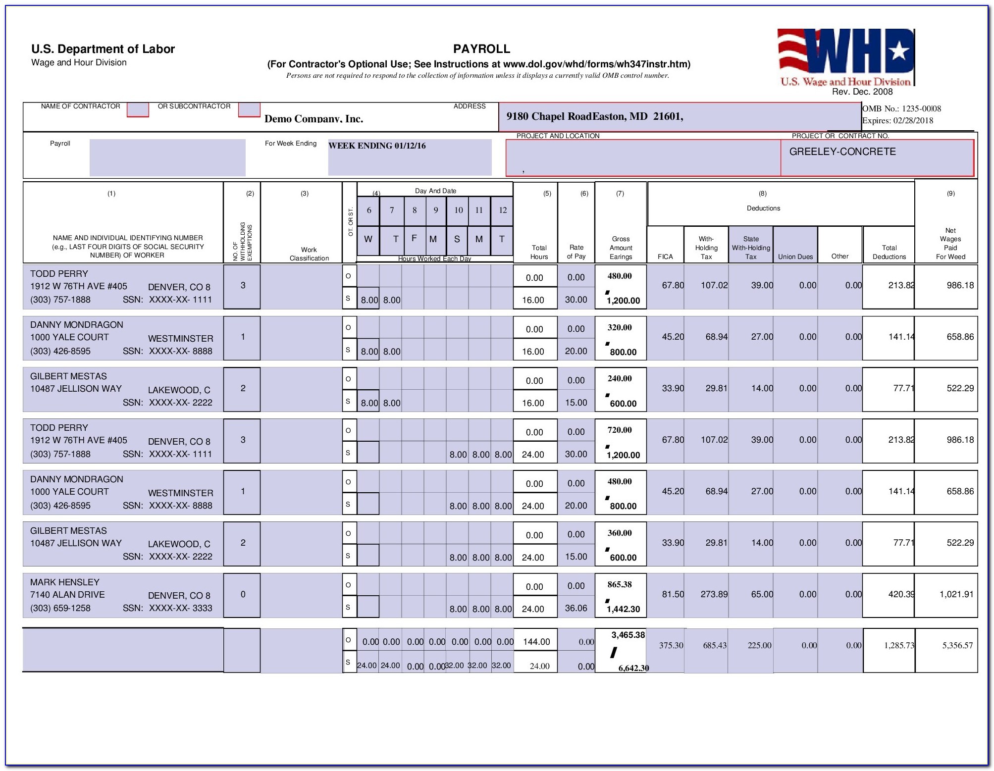 Certified Payroll Form Wh 347