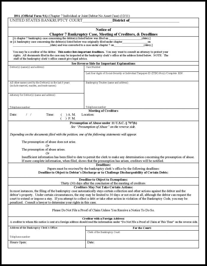 Chapter 7 Bankruptcy Oregon Forms