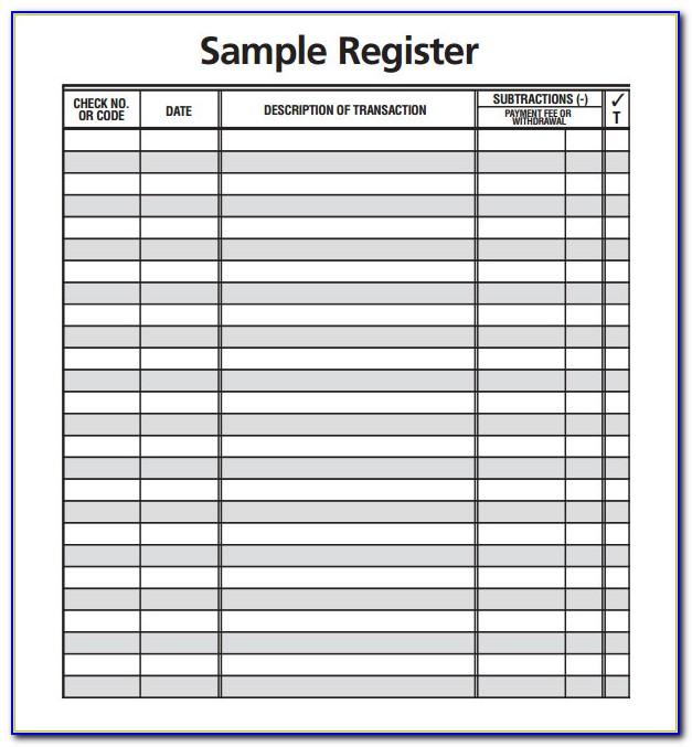 Checkbook Register Excel Format