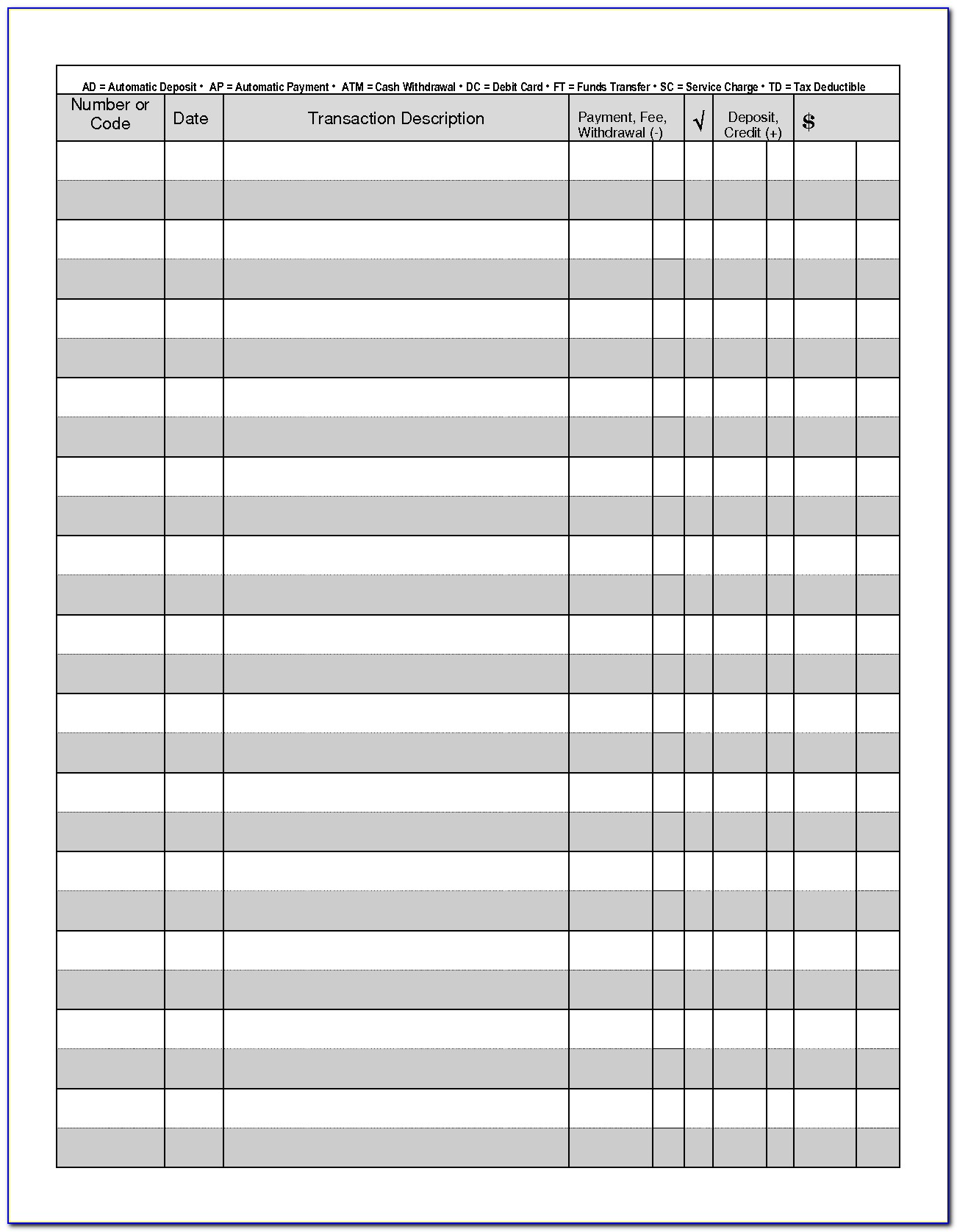 Checkbook Register Form