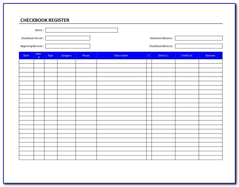 Checkbook Register Format