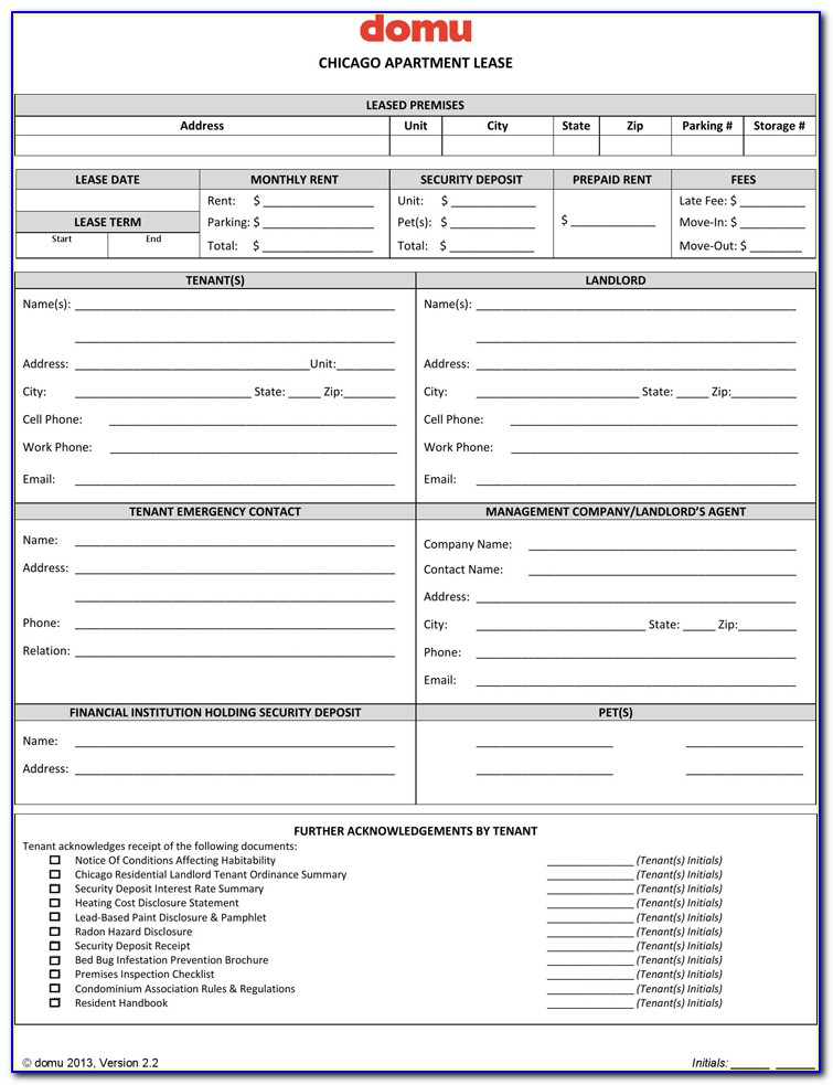 Chicago Apartment Lease Agreement Form