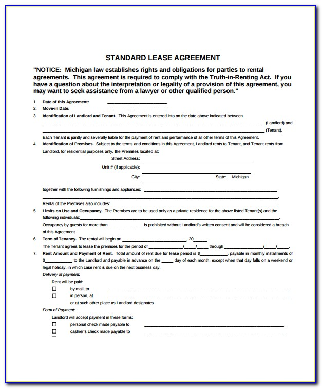 Chicago Apartment Rental Lease Form