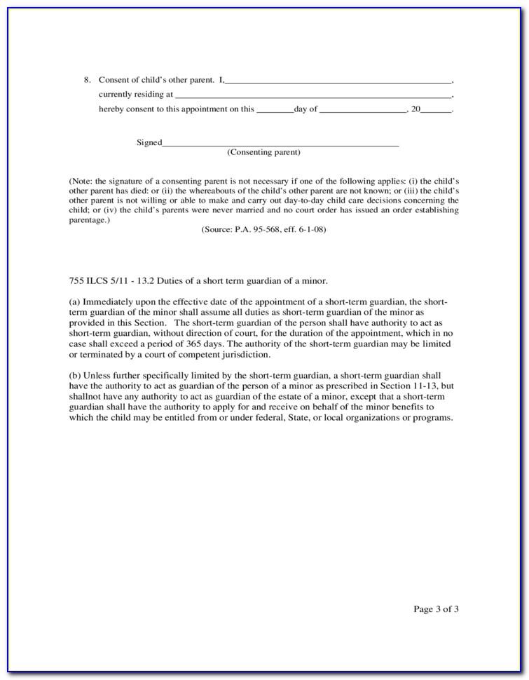 Child Custody Agreement Form Illinois