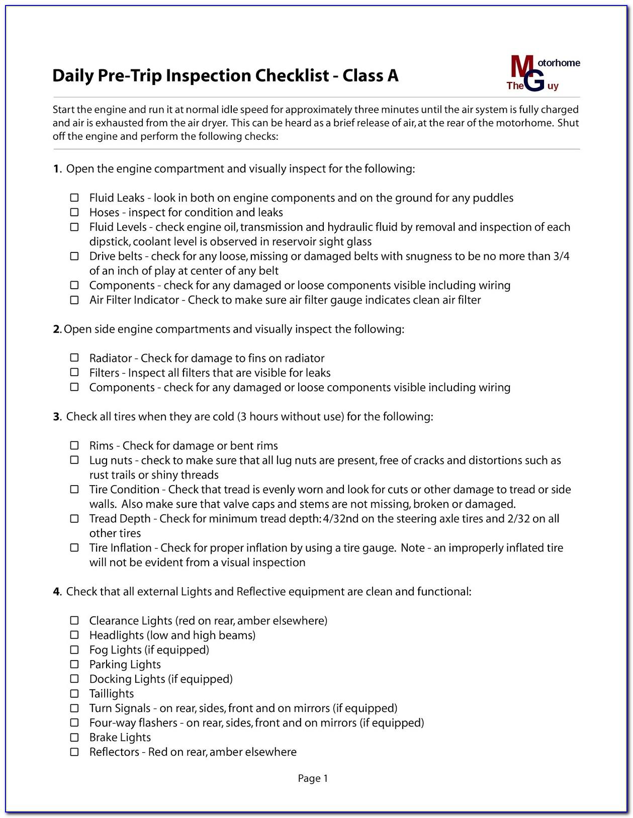 Class B Cdl Pre Trip Inspection Checklist Form Texas