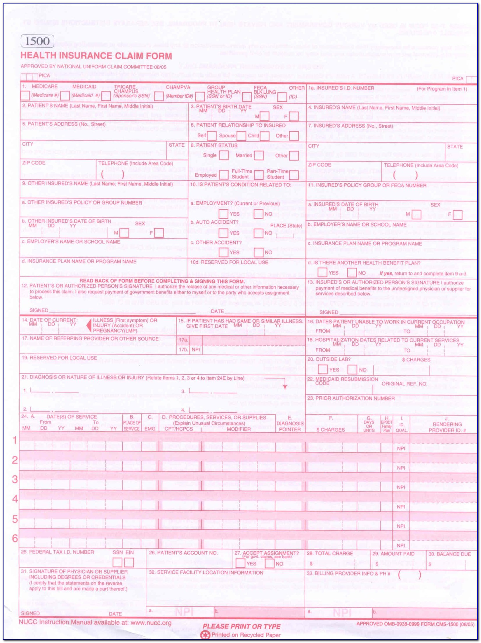 Cms 1500 Claim Form Worksheet