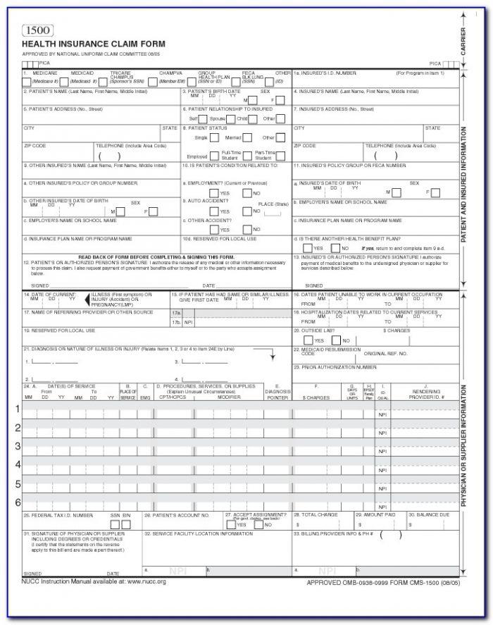 Cms New Hcfa 1500 Claim Form