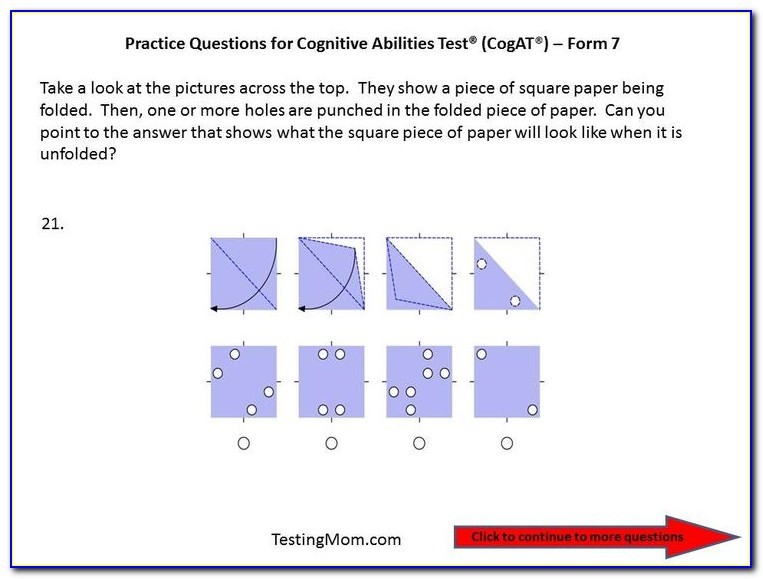 Cogat Form 7 Level 8 Sample Questions