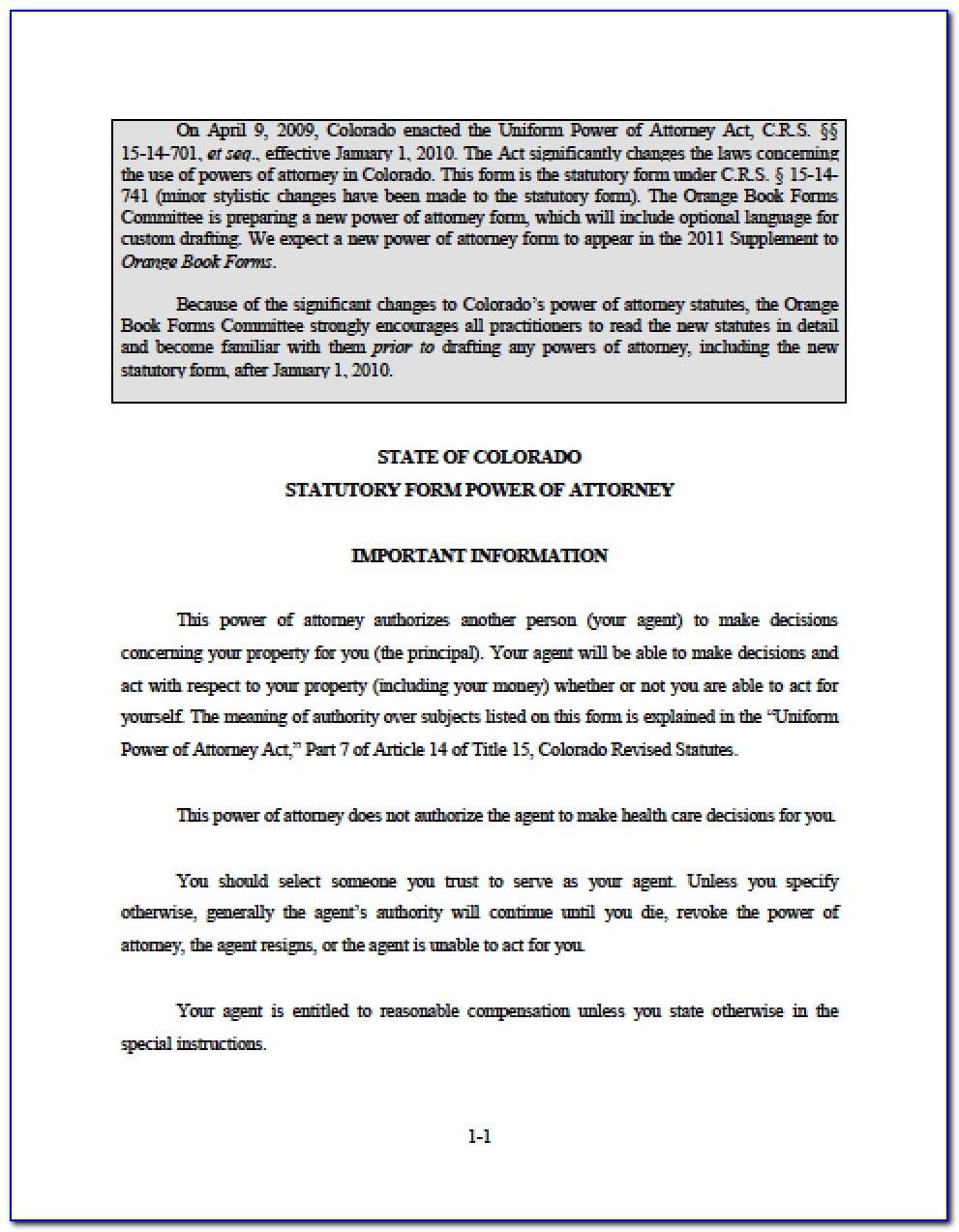 Colorado General Durable Power Of Attorney Form Free
