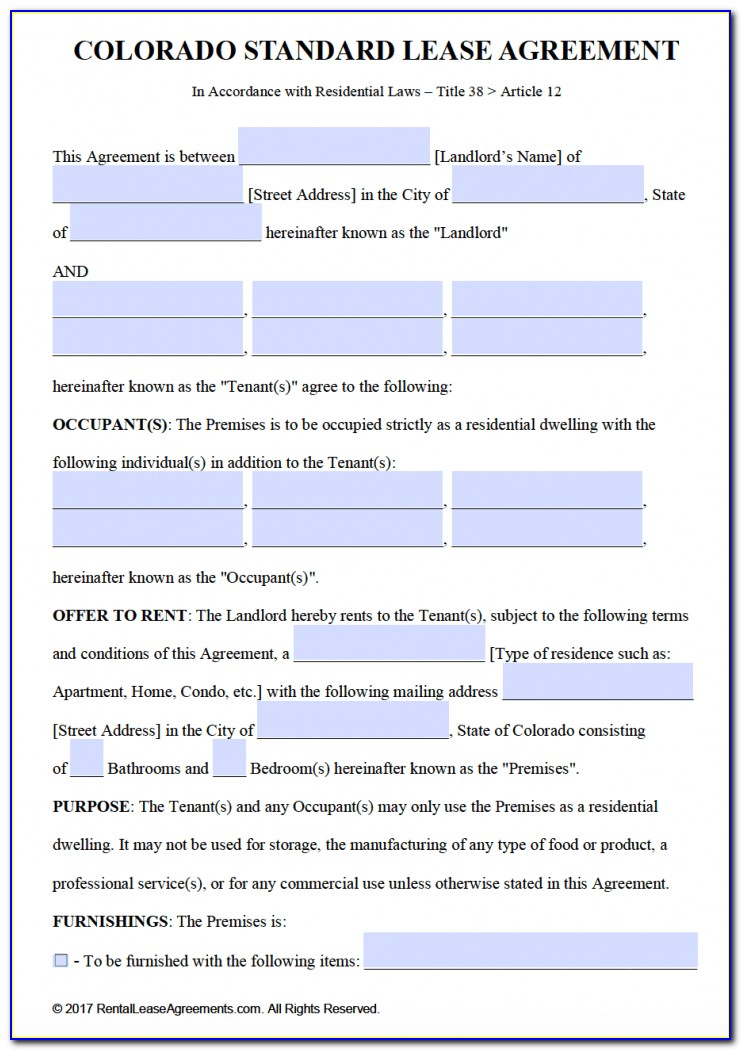 Colorado Standard Residential Lease Form