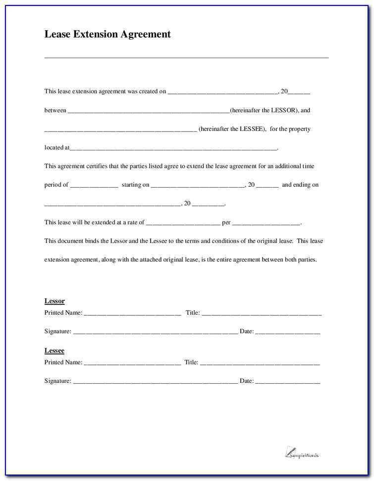 Commercial Lease Extension Form