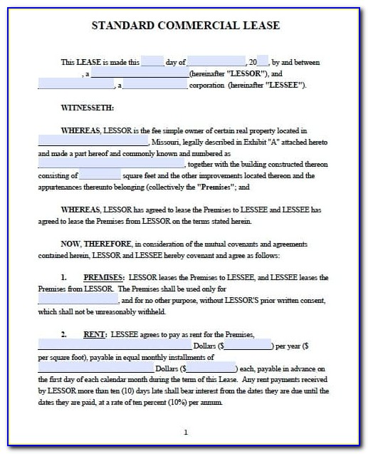 Commercial Lease Forms Free
